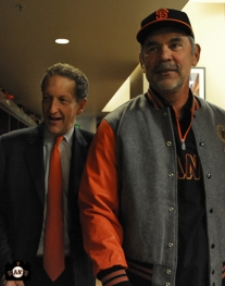 bruce bochy, larry baer, april 23, 2013, sf giants, photo, team, mayor ed lee, jacket presentation