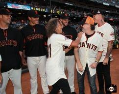 San Francisco Giants, S.F. Giants, photo, 2013, Metallica,Ryan Vogelsong, Javier Lopez, Kirk Hammett, George Kontos, Lars Ulrich and James Hetfield