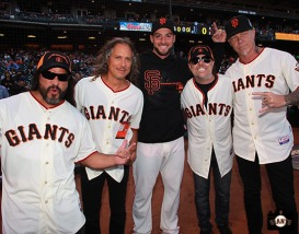 San Francisco Giants, S.F. Giants, photo, 2013, Metallica, Robert Trujillo, Kirk Hammett, George Kontos, Lars Ulrich, James Hetfield