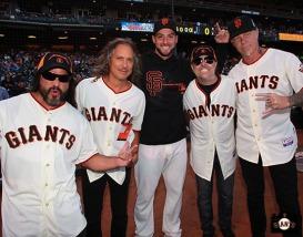 San Francisco Giants, S.F. Giants, photo, 2013, Metallica, Robert Trujillo, Kirk Hammett, George Kontos, Lars Ulrich, James Hetfield