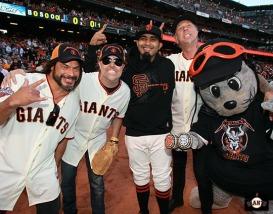 San Francisco Giants, S.F. Giants, photo, 2013, Metallica, Robert Trujillo, Lars Ulrich, Sergio Romo, James Hetfield, Lou Seal