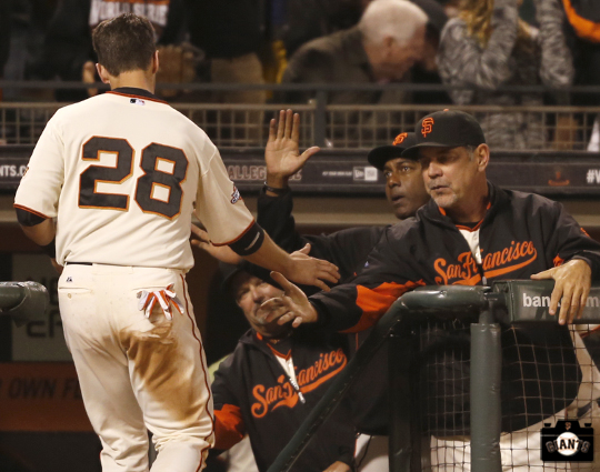 San Francisco Giants, S.F. Giants, photo, 2013, Buster Posey, Hensley Meulens, Bruce Bochy