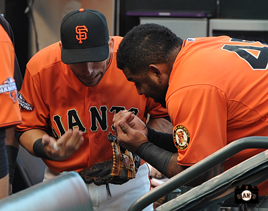 San Francisco Giants, S.F. Giants, photos, 2013, Marco Scuatro, Pablo Sandoval