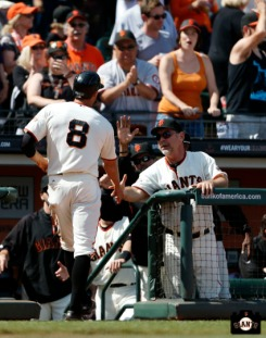 San Francisco Giants, S.F. Giants, photo, 2013, Hunter Pence, Bruce Bochy