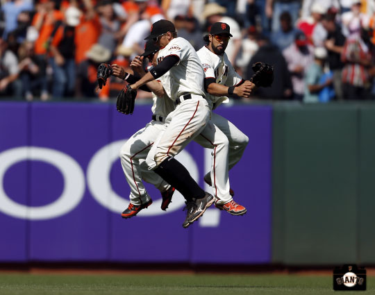 San Francisco Giants, S.F. Giants, photo, 20130, Gregor Blanco, Hunter Pence, Angel Pagan