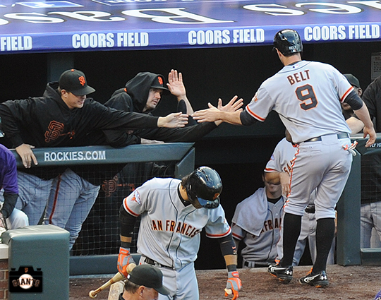brandon belt, matt cain, barry zito, may 18, 2013, sf giants, photo, colorado rockies,