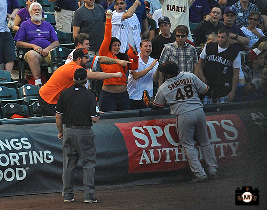 may 18, 2013, sf giants, fans, colorado rockies, pablo sandoval gives a ball to a fan