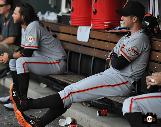 may 19, 2013, sf giants, photo, high socks, dugout, colorado rockies, brandon crawford