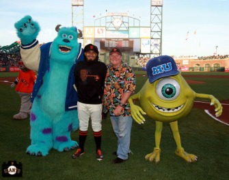 San Francisco Giants, S.F. Giants, photo, 2013, Pixar, John Lassester, Mike Wazowski, Sergio Romo, James P. Sullivan