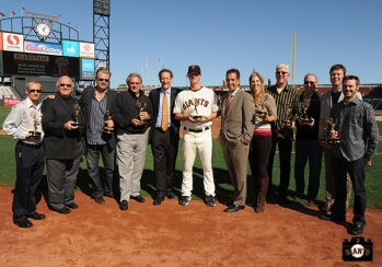sf giants, photo, 2013 Emmy Awards, Jon Miller, Jeff Kuiper, Duane Kuiper, Larry Baer, Matt Cain, Amy G, Mike Krukow, Dave Flemming, Jim Lynch, Dan Peterson