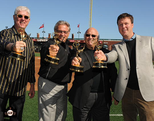 sf giants, photo, mike krukow, duane kuiper, jon miller, dave flemming, 2013 Emmy Awards,