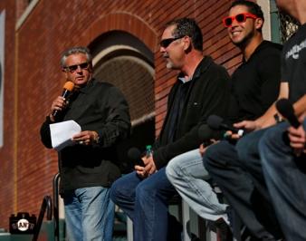 duane kuiper, gregor blanco, bruce bochy, june 22, 2013, sf giants, photo, season ticket member appreciation day, fans,