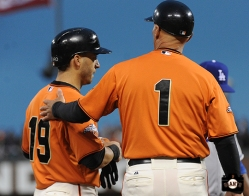 San Francisco Giants, S.F. Giants, photo, 2013, Marco Scutaro, Tim Flannery