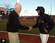 San Francisco Giants, S.F. Giants, photo, 2013, Lon Simmons, Sergio Romo