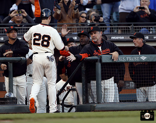 july 20, 2013, sf giants, photo, bruce bochy, team, buster posey