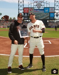 San Francisco Giants, S.F. Giants, photo, 2013, Heart and Hustle Award, Hunter Pence, Will Clark