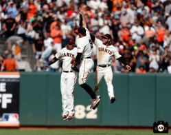 San Francisco Giants, S.F. Giants, photo, 2013, Francisco Peguero Hunter Pence, Gregor Blanco
