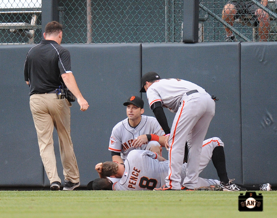 dave groeschner, marco scutaro, gregor blanco, hunter pence, ,runs into wall, colorado, coors field, colorado rockies, photo, sf giants right field
