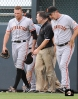 burce bochy, dave groeschner, hunter pence, ,runs into wall, colorado, coors field, colorado rockies, photo, sf giants right field