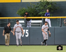 dave groeschner, bruce bochy, hunter pence, ,runs into wall, colorado, coors field, colorado rockies, photo, sf giants right field