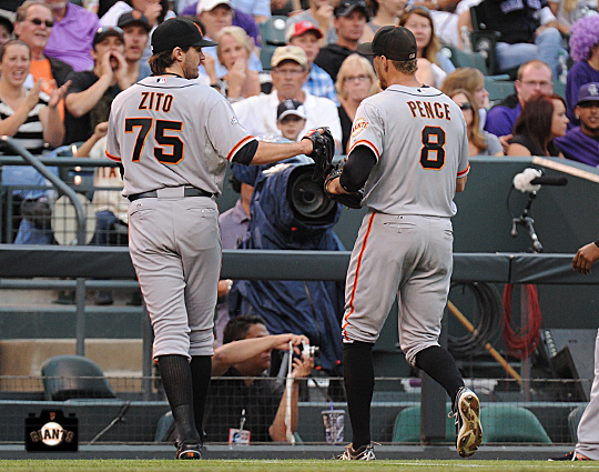 barry zito, hunter pence, ,runs into wall, colorado, coors field, colorado rockies, photo, sf giants right field