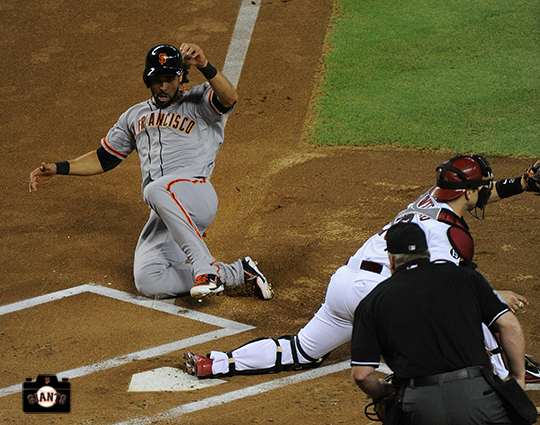 angel pagan, August 30, 2013, sf giants, angel pagan, first game back, arizona diamondbacks, chase field, first at bat