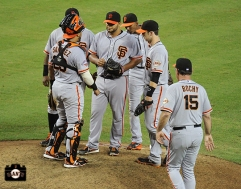 bruce bochy, hector sanchez, buster posey, joaquin arias, pablo sandoval, september 1, 2013, sf giants, photo