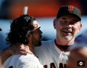 San Francisco Giants, S.F. Giants, photo, 2013, Angel Pagan, Bruce Bochy