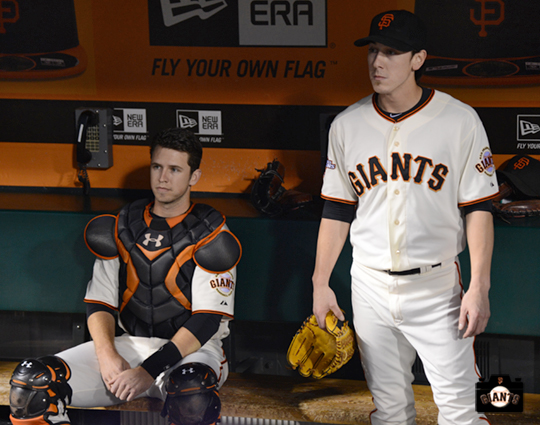 buster posey, tim lincecum, september 26, 2013, sf giants, photo