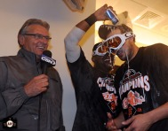 San Francisco Giants, S.F. Giants, photo, 2013, Duane Kuiper, Pablo Sandoval, Jonathan Sanchez