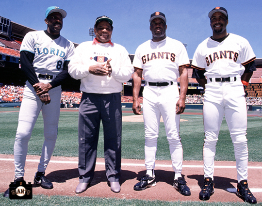 300/300 club, baseball, sf giants, photo, willie mays, andre dawson, bobby bonds, barry bonds