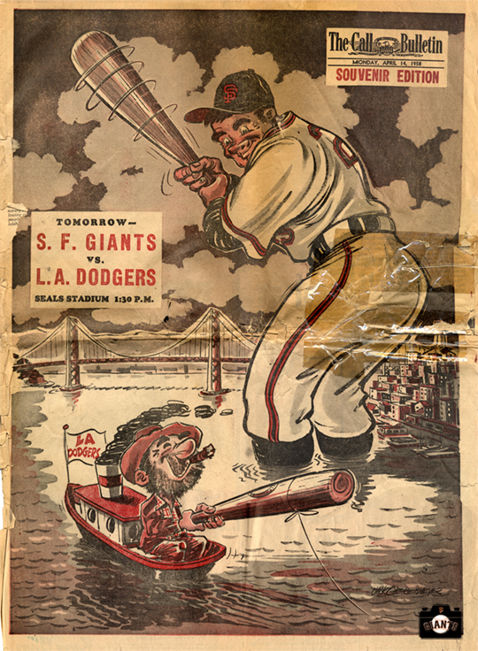 sf giants, photo, cover sf call-bulletin, monday, april 14, 1958