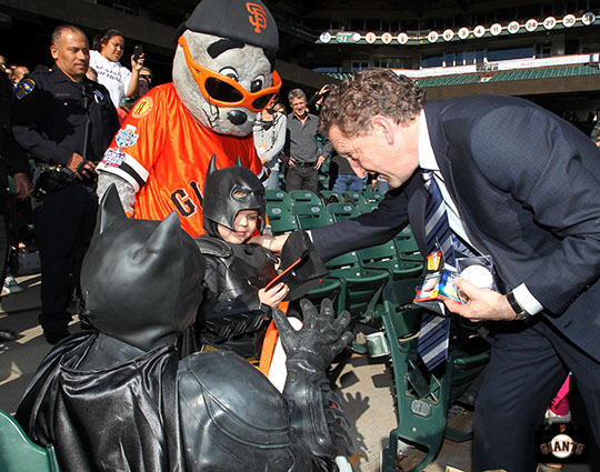 San Francisco Giants, S.F. Giants, photo, 2013, Lou Seal, Larry Baer, Batkid
