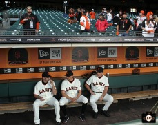 Jeremy Affeldt, Hunter Pence and Bruce Bochy