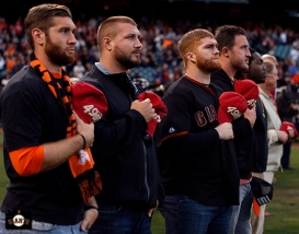 San Francisco Giants, S.F. Giants, photo, 2014, McLeod Bethel-Thomson, Dan Skuta, Bruce Miller and Joe Staley