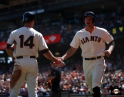 San Francisco Giants, S.F. Giants, photo, 2014, Brandon Hicks, Hunter Pence