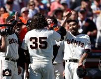 San Francisco Giants, S.F. Giants, photo, 2014, Brandon Crawford, Sergio Romo