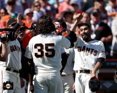 Brandon Crawford and Sergio Romo