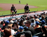 San Francisco Giants, S.F. Giants, photo, 2014, Pony League Day, Brandon Belt, Dave Flemming