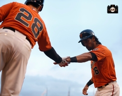 San Francisco Giants, S.F. Giants, photo, 2014, Buster Posey, Angel Pagan