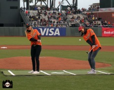 San Francisco Giants, S.F. Giants, photo, 2014, LPGA, Paula Creamer, Michelle Wie