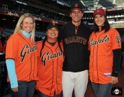 San Francisco Giants, S.F. Giants, photo, 2014, LPGA, Brittany Lincicome, Christina Kim, Javier Lopez, Michelle Wie