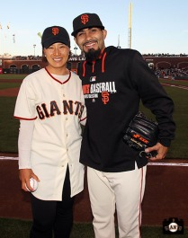 San Francisco Giants, S.F. Giants, photo, 2014, Korean Heritage Night, Sergio Romo, Se-Ri Pak