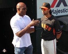 San Francisco Giants, S.F. Giants, photo, 2014, Barry Bonds, Angel Pagan