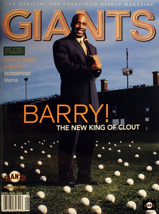 barry bonds, 2002 giants magazine, sf giants, photo,