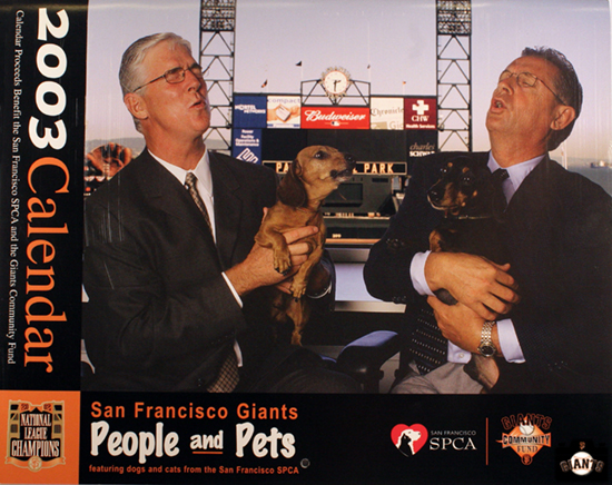2003 calendar, spca, sf giants, mike krukow, duane kuiper, dogs