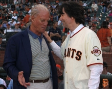 may 13, 2014, sf giants, photo, ken burns, first pitch, peter magowan