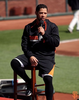 San Francisco Giants, S.F. Giants, photo, 2014, Little League Day, Gregor Blanco