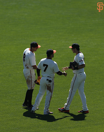 San Francisco Giants, S.F. Giants, photo, 2014, Hunter Pence, Gregor Blanco, Tyler Colvin