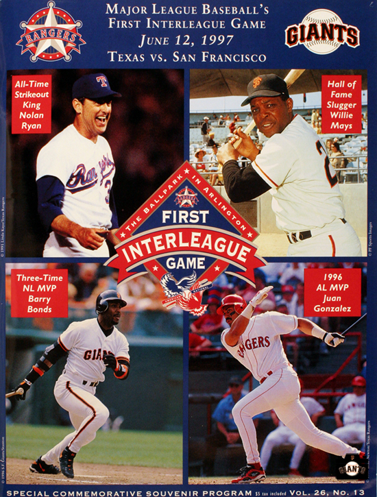 1997 First Interleague Game Commemorative Program, willie mays, nolan ryan, juan gonzalez, barry bonds